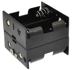 4 Cell D Battery Holder With Snap Terminals