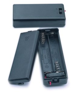 2 Cell AAA Battery Holder With Cover, Lead Wires, and On-Off Slide Switch