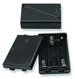 3 Cell AAA Battery Holder With Cover and Snap Terminals