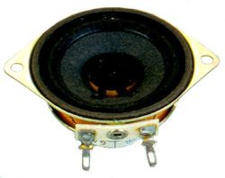 50 mm, Round Frame, 1.0 W, 8 Ohm, Alnico Magnet, Paper Cone Speaker w/Mounting Ears