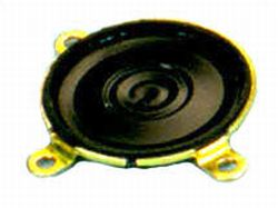 23 mm, Round Frame, 0.3 W, 32 Ohm, Neodymium Magnet, Mylar Cone, Low Profile Speaker w/Mounting Ears