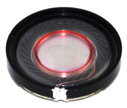 27 mm, Round Frame, 0.1 W, 8 Ohm, Neodymium Magnet, Mylar Cone, Low Profile Speaker
