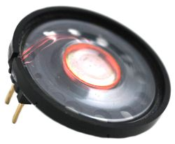 30 mm, Round Frame, 0.2 W, 8 Ohm, Neodymium Magnet, Mylar Cone, Low Profile Speaker w/PCB Pins