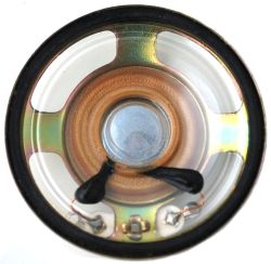 40 mm, Round Frame, 0.2 W, 8 Ohm, Neodymium Magnet, Mylar Cone, Low Profile Speaker
