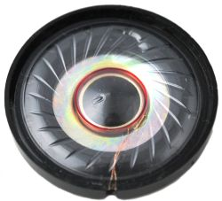 40 mm, Round Frame, 0.04 W, 8 Ohm, Ferrite Magnet, Mylar Cone, Low Profile Speaker