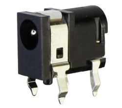 1.65 mm Center Pin, 2.0 A, Right Angle, PCB Mount, DC Power Jack with Shield and Kinked Pins