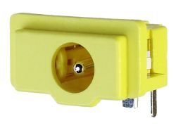 1.65 mm Center Pin, 2.0 A, Right Angle, PCB Mount, Yellow DC Power Jack
