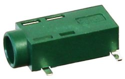 3.5 mm, Right Angle, Green, Stereo Jack - Surface Mount (SMT)