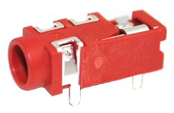 3.5 mm, Right Angle, Red, Stereo Jack - PCB Mount