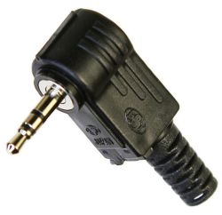 2.5 mm, Right Angle, Stereo Plug w/Strain Relief