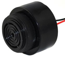 43 mm Piezo Audio Indicator, 6~28 VDC, 92 dB, 2.9 kHz, Slow Pulse, Lead Wires