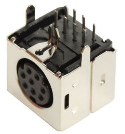 Mini DIN Receptacle, 3 ~ 9 Contacts, Right Angle, PCB Mount, Shielded