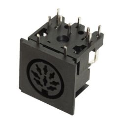 Standard DIN Receptacle, 3 ~ 8 Contacts, Right Angle, PCB Mount