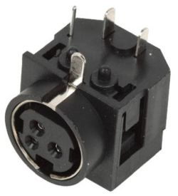 Standard DIN Receptacle, 3 Contacts, Right Angle, PCB Mount
