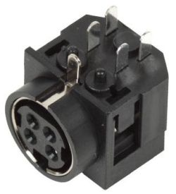 Standard DIN Receptacle, 4 Contacts, Right Angle, PCB Mount