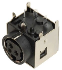 Standard DIN Receptacle, 3 Contacts, Right Angle, PCB Mount, Shielded
