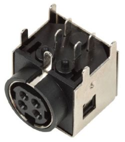 Standard DIN Receptacle, 4 Contacts, Right Angle, PCB Mount, Shielded