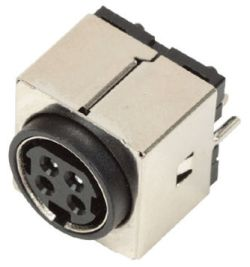 Standard DIN Receptacle, 4 Contacts, Vertical, PCB Mount, Shielded