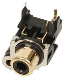 1-Port, Right Angle, RCA Jack with Plastic Housing & Front Shield