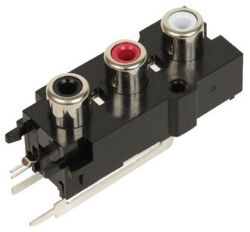 3-Port, Right Angle, RCA Jack with Plastic Housing
