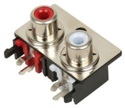 2-Port, Right Angle, RCA Jack with Plastic Housing & Front Shield