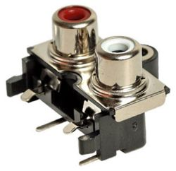 2-Port, Right Angle, RCA Jack with Mounting Hole & Front Shield