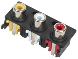 3-Port, Vertical, RCA Jack with Plastic Housing