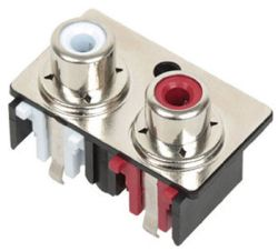 2-Port, Vertical, RCA Jack with Mounting Hole & Front Shield