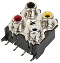 4-Port, Right Angle, RCA Jack with Mounting Hole & Front Shield