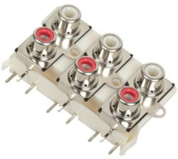 6-Port, Right Angle, RCA Jack with Mounting Holes & Front Shield