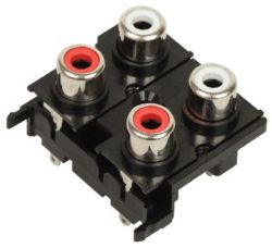 4-Port, Vertical, RCA Jack with Mounting Hole